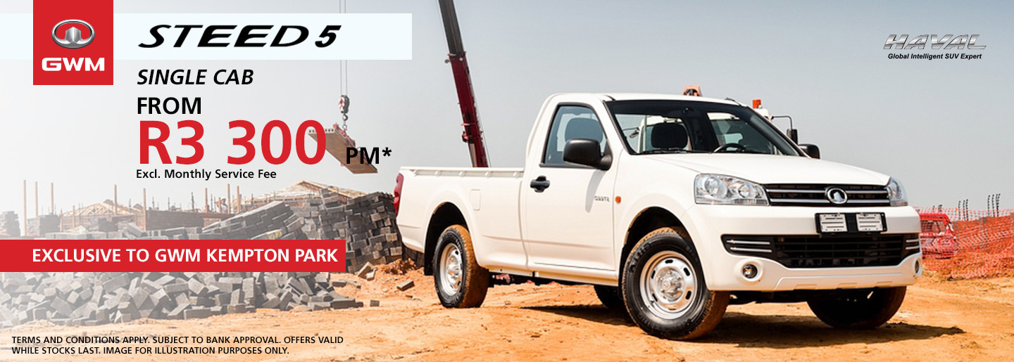 STEED 5 SINGLE CAB FROM R3 300 PM* banner