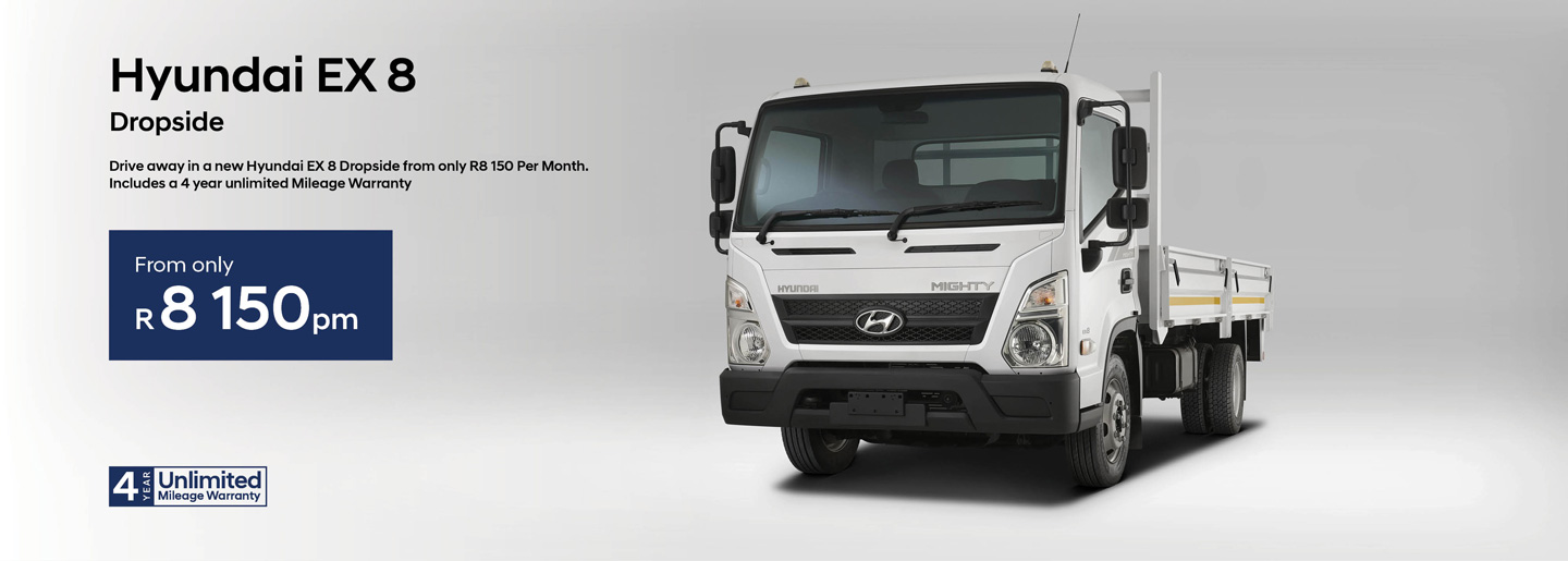 Hyundai EX 8 Dropside from only R8 150pm banner