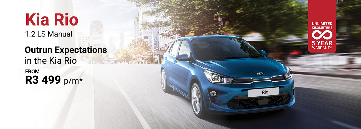 Kia Rio 1.2 LS Manual from only R3 499pm banner