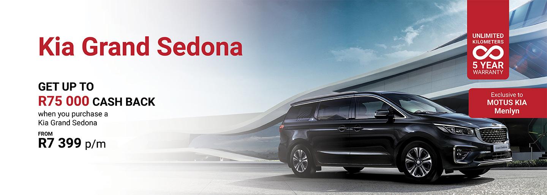 Kia Grand Sedona from R7,399 PM banner