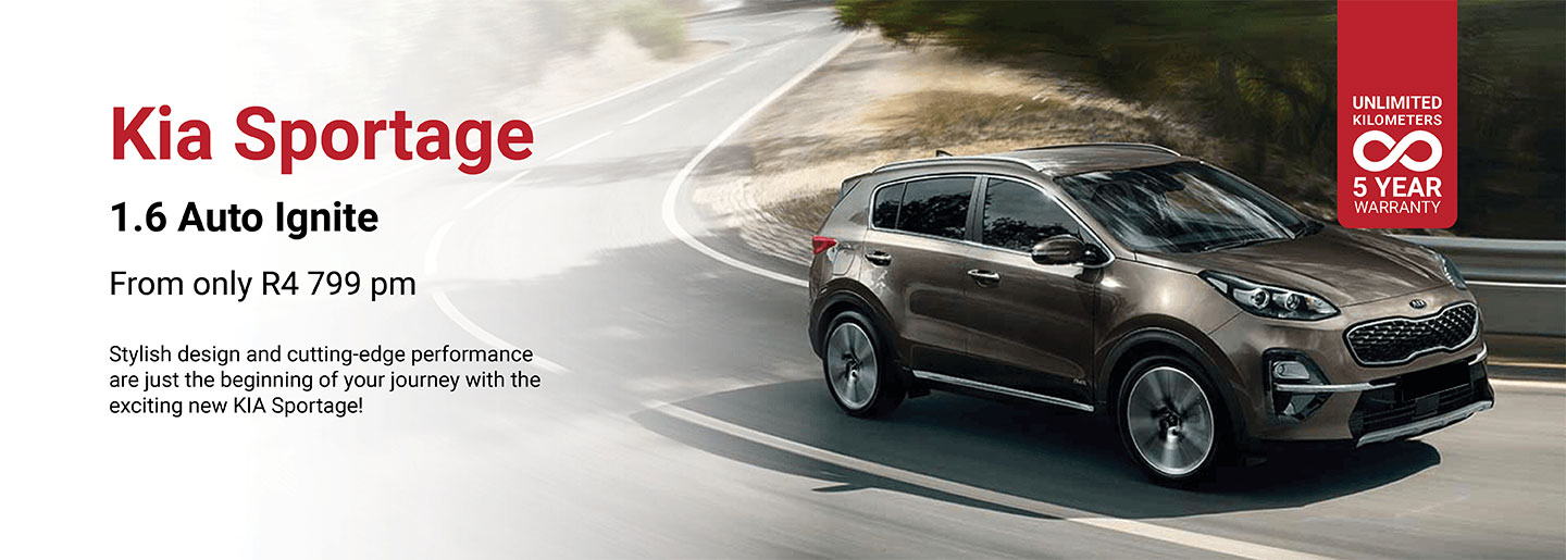 Kia Sportage 1.6 Auto from only R4 799pm banner