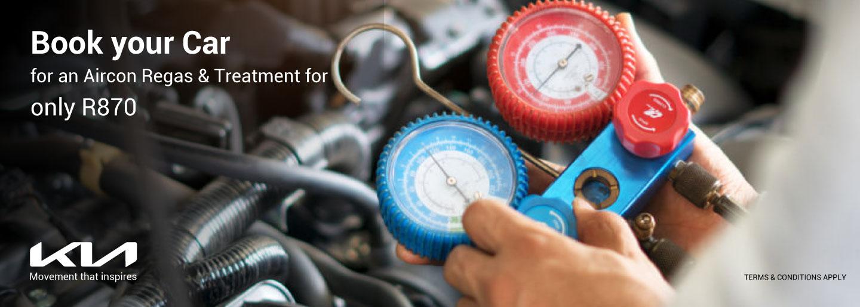 Book your car for an Aircon Regas & treatment banner